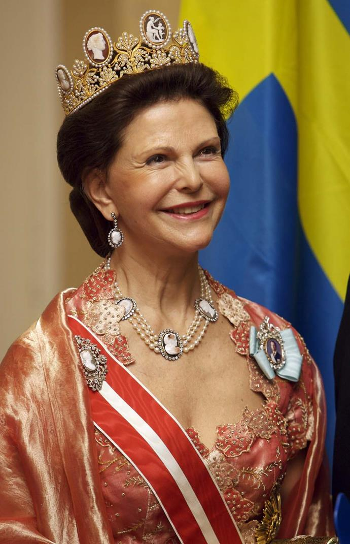 **The tiara:** The Cameo Tiara.<br><br> **The wearer:** The Swedish Royal Family.<br><br> **The details:** Thought to be one of the oldest tiaras still worn, it features cameos set in gold with pearls.<br><br>