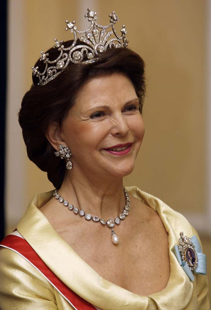 **The tiara:** Queen Sophia's Diamond Tiara.<br><br> **The wearer:** Queen Silvia of Sweden.<br><br> **The details:** There are more than 500 different diamonds of various sizes in this colossal tiara.<br><br>