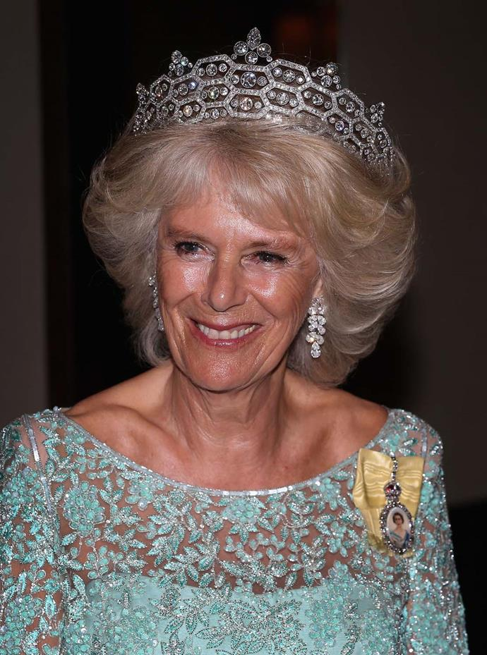 **The tiara:** The Greville Tiara.<br><br> **The wearer:** Camilla, Duchess of Cornwall.<br><br> **The details:** The tiara features a distinctive honeycomb design. <br><br>