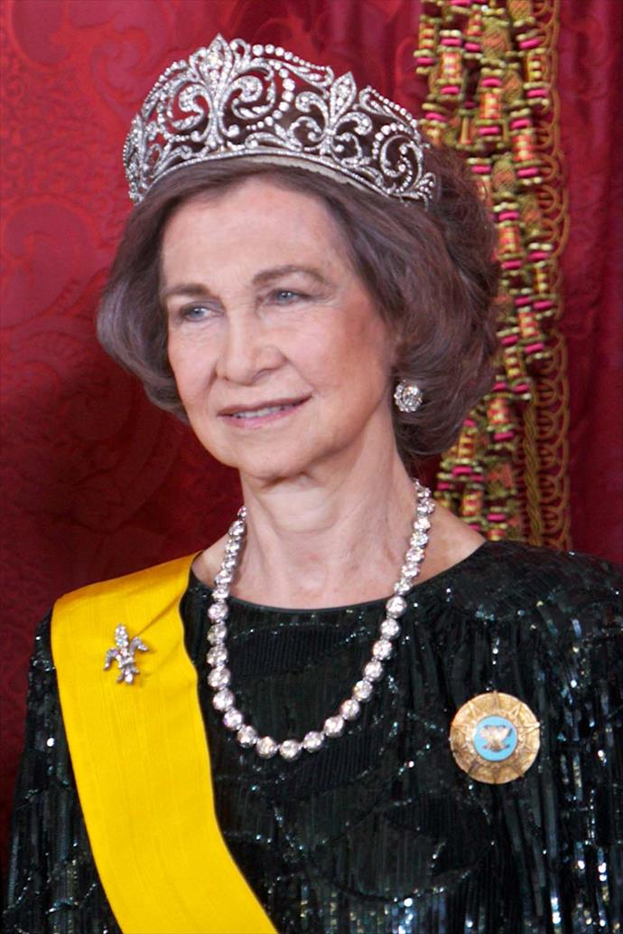 **The tiara:** The Fleur de Lys Tiara.<br><br> **The wearer:** Queen Sofia of Spain. <br><br> **The details:** Made in 1906, this tiara uses diamonds and platinum in fleur-de-lys motifs. <br><br>