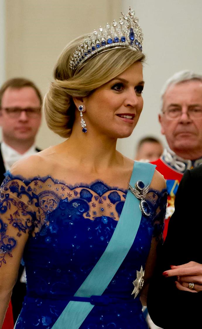 **The tiara:** The Dutch Sapphire Tiara.<br><br> **The wearer:** Máxima, Queen of the Netherlands. <br><br> **The details:** With a 44 carat diamond at the centre, the Dutch Sapphire tiara is one of the largest pieces in the Dutch collection. It was worn by Queen Máxima to her husband's coronation as king.<br><br>