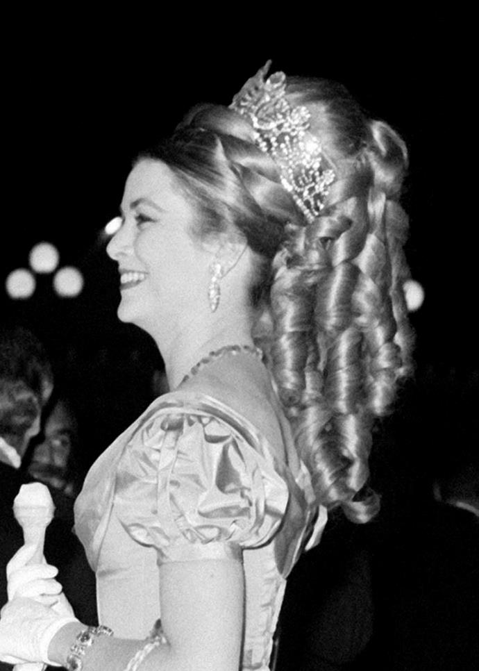 **The tiara:** Empress Joséphine's tiara.<br><br> **The wearer:** Princess Grace of Monaco.<br><br> **The details:** While this huge tiara doesn't actually belong to the Monaco Royal family, it became well-known after Princess Grace loaned it from Van Cleef & Arpels for a ball in 1966.<br><br>
