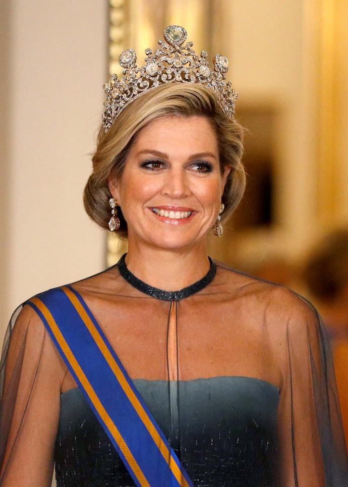 **The tiara:** The Stuart Tiara.<br><br> **The wearer:** Máxima, Queen of the Netherlands.<br><br> **The details:** Made in 1897 to house 'the Stuart diamond,' the colossal 39-carat pear-cut diamond at the top,  and (according to rumour) over 900 other diamonds of various sizes.<br><br>