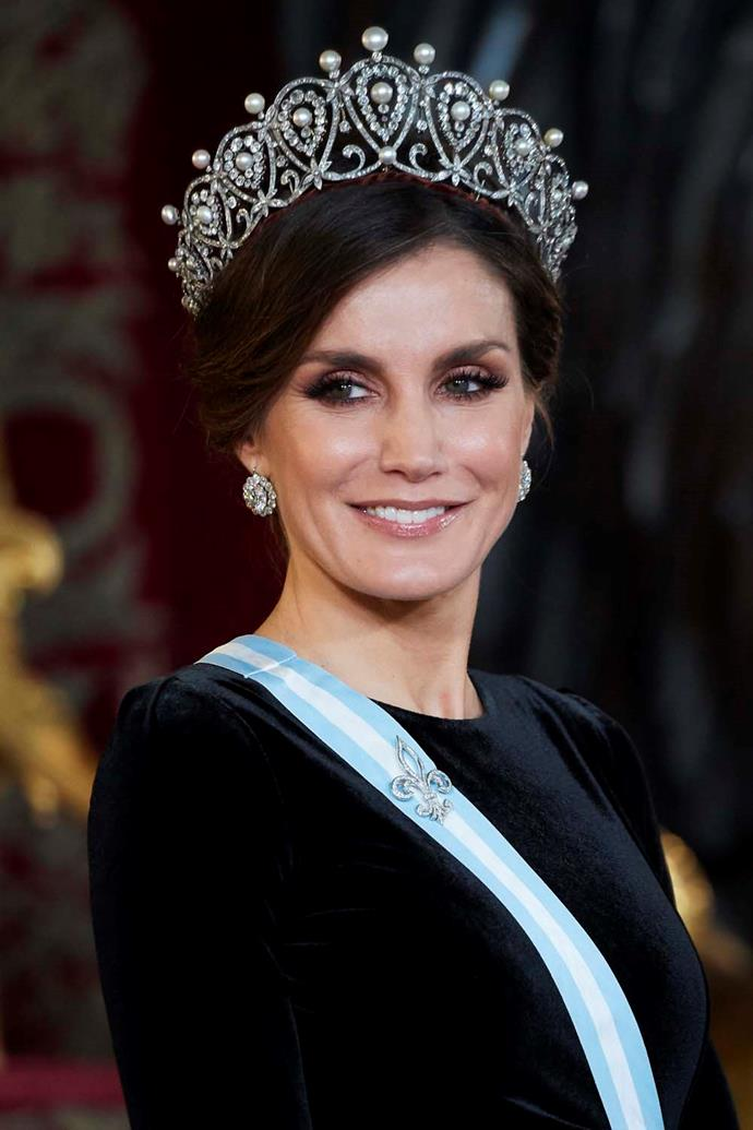 **The tiara:** The Cartier Loop Tiara.<br><br> **The wearer:** Letizia, Queen of Spain.<br><br> **The details:** This tiara was made in 1879 for the future Queen of Spain, Maria Christina. It is made of diamonds and pearls, set in platinum.<br><br>