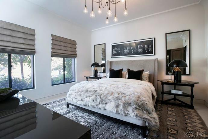 ***Kourtney Kardashian's house*** <br><br> As for Kardashian's bedroom décor, the mother-of-three opted for plush, tonal accessories in a grey theme, with a large Moroccan carpet. <br><br> *Image: Kourtney Kardashian App*