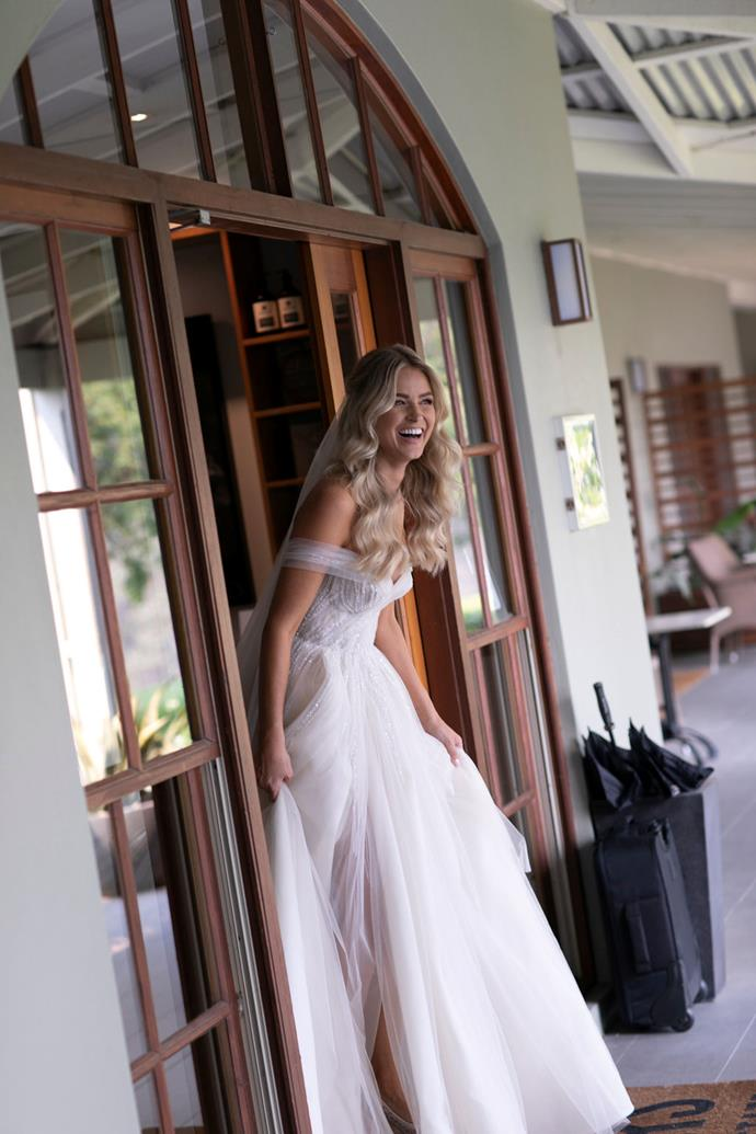 "**On finding the dress:** I have followed [Pallas Couture](https://www.harpersbazaar.com.au/bazaar-bride/wedding-dress-stores-sydney-16681|target=""_blank"") for years, and have even worked with them before. They made the whole process so easy. I always knew I wanted a princess dress, and I didn't want it to have too many embellishments (I am not really into frills and bows, etc., I just wanted to look back on it in 10 to 20 years and still love it). I love that my dress also had hidden pockets!"