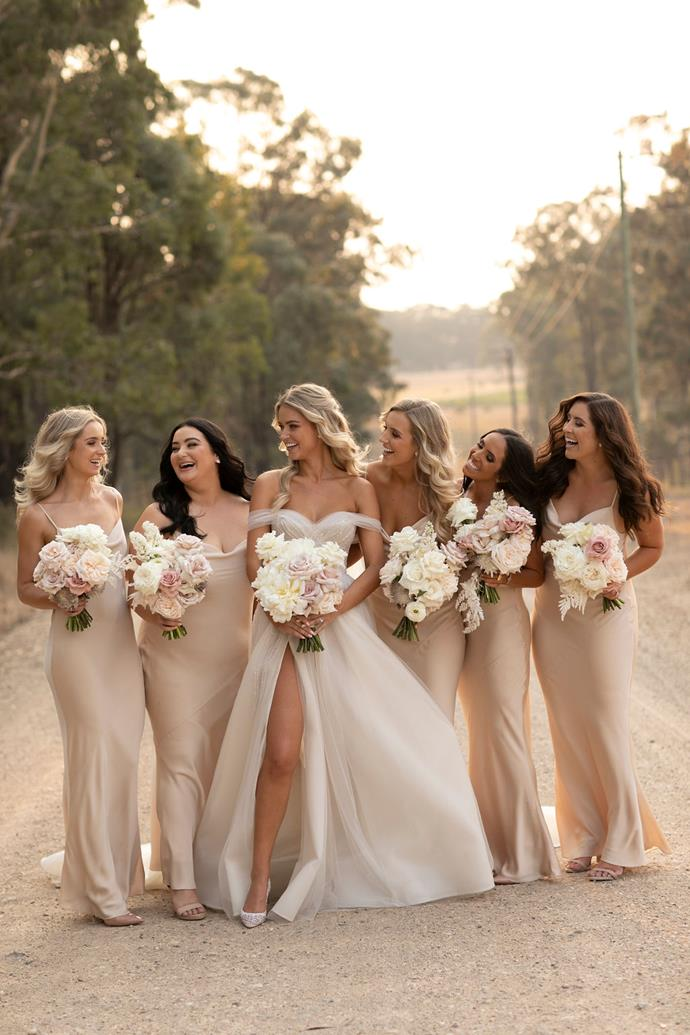 **On the bridesmaids' looks:**I wanted the girls to look and feel their best. Picking bridesmaid dresses was one of the hardest decisions. I knew I wanted everyone in the same dress. I loved the champagne-coloured slip dresses. They made the flowers pop and suited everyone.