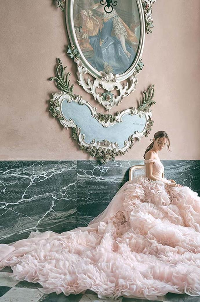 "**Frothy Layers**<br><br>  Seen in the collections of Monique Lhuillier, Oscar de la Renta and Zuhair Murad, among others, bridal's love affair with frothy layers is set to reach new heights in 2020. Expect to see romantic, tiered ruffles that billow from hip to hem, curving ripples of tulle and playful pleating.<br><br>  *Image via [@moniquelhuillier](https://www.instagram.com/moniquelhuillier/|target=""_blank""