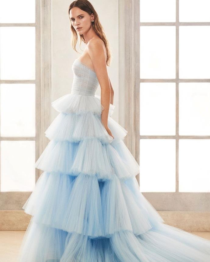 "**Cool Pastels**<br><br>  *Image via [Oscar de la Renta](https://www.oscardelarenta.com/pages/bridal-collection-fall-2020 target=""_blank"" rel=""nofollow"") Bridal fall 2020*"