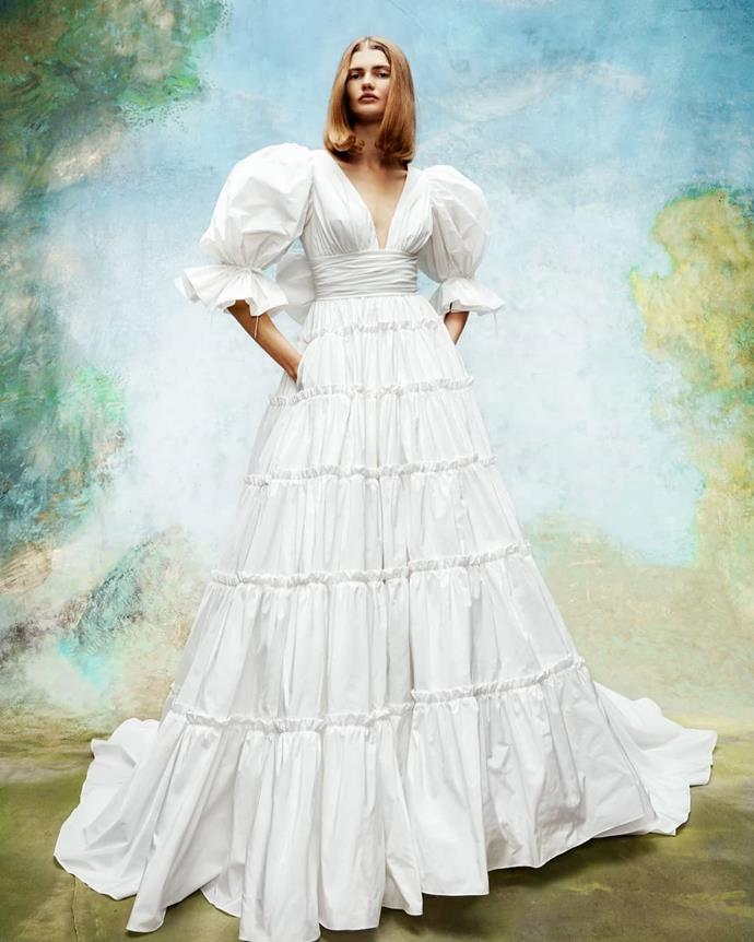 "**Prairie-Inspired**<br><br>  Call it the [*Little Women*](https://www.elle.com.au/fashion/little-women-fashion-21071|target=""_blank"") effect. Emerging in August 2019, the prairie-inspired trend has extended its reign and made its mark in the realm of bridal fashion for 2020. Notable accents include puff sleeves, tiered A-line skirts and waist-less, voluminous gowns.<br><br>  *Image via [Viktor & Rolf Marriage](https://www.instagram.com/p/B3mi2c9gDhC/