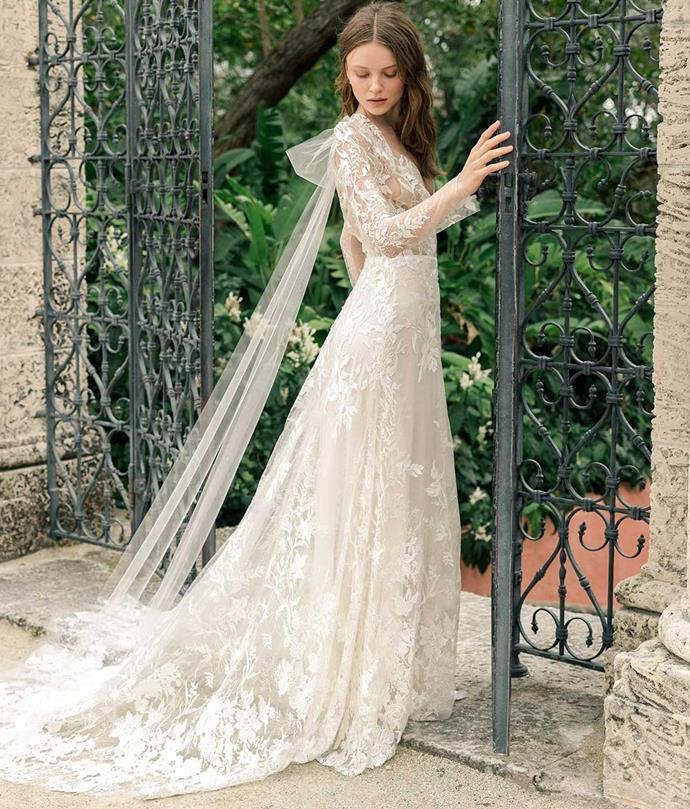"**Full Coverage**<br><br>  Be it in a traditional lace gown or an avant-garde silhouette, full coverage has claimed its place as one of bridal's leading looks. Taking multiple forms, we will see an influx of regal high necks, semi-sheer capelets and billowing sleeves in gowns that are anything but matronly.<br><br>  *Image via [Monique Lhuillier](https://moniquelhuillier.com/apps/lookbook/spring-2020/?look=false|target=""_blank""