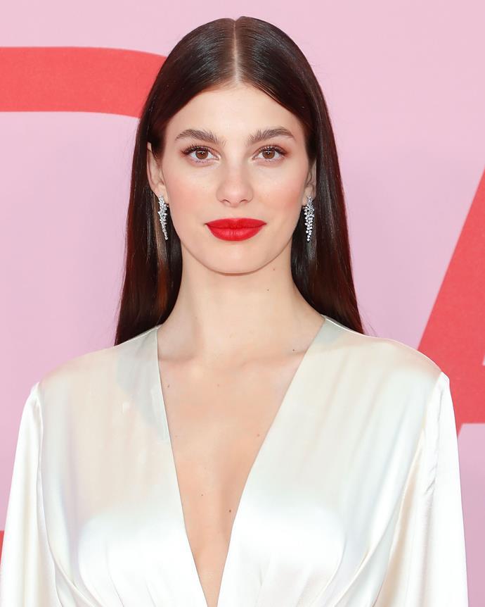 A bold red lip in June 2019.