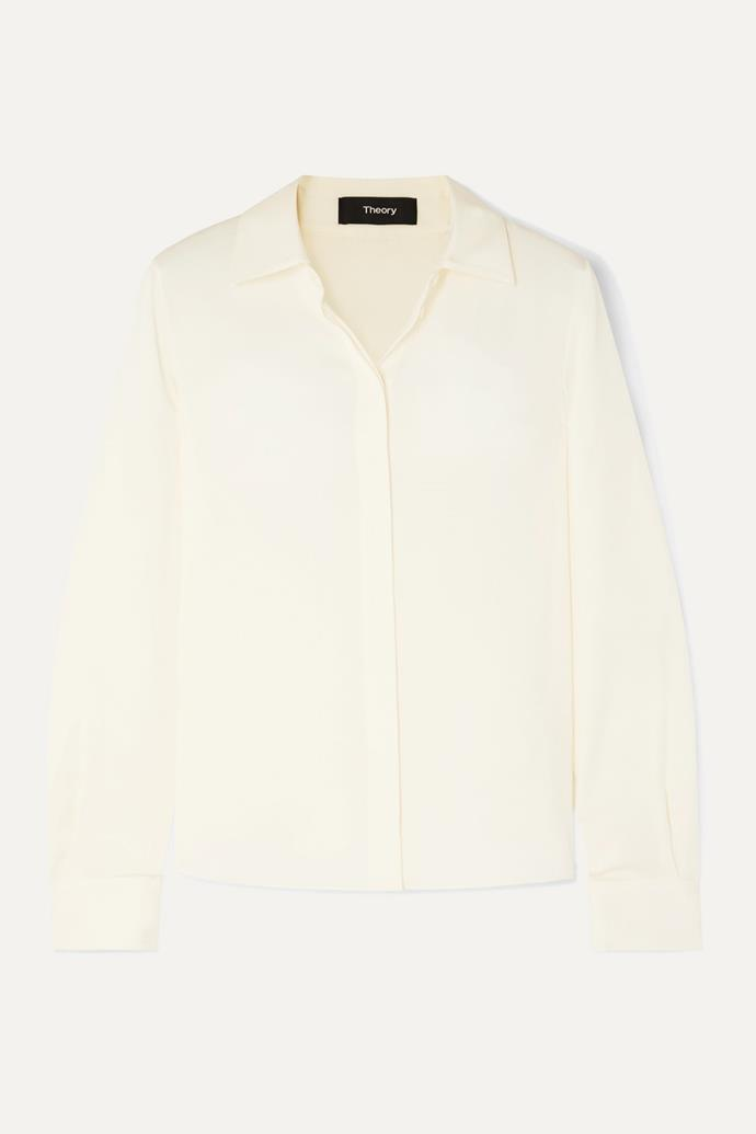 "Shirt by Theory, $583 at [NET-A-PORTER](https://www.net-a-porter.com/au/en/product/1197022?resType=single&keywords=1197022&termUsed=1197022&enableAjaxRequest=false|target=""_blank""