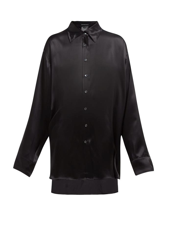 "Shirt by Ann Demeulemeester, $594, at [MATCHESFASHION](https://www.matchesfashion.com/au/products/Ann-Demeulemeester-Stepped-hem-longline-silk-shirt-1270064|target=""_blank""