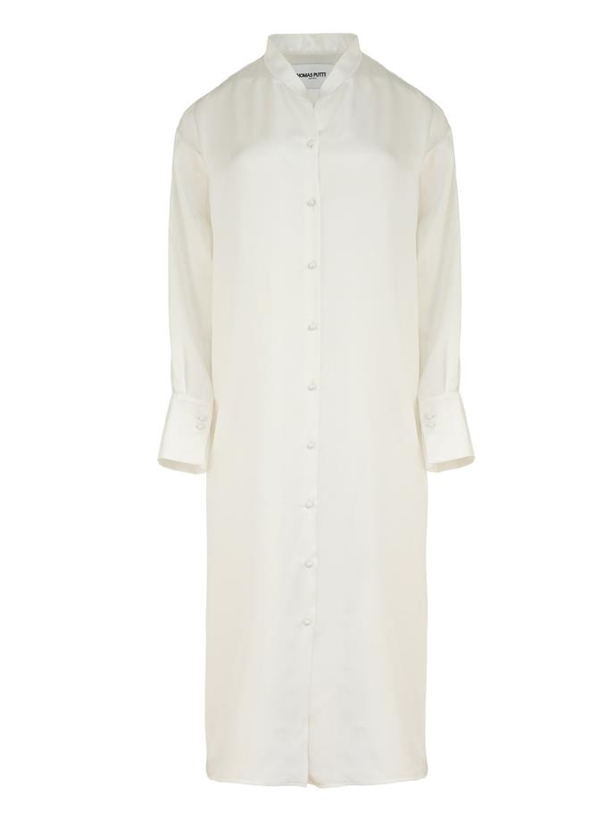 "Dress by Thomas Puttick, $990 at [The UNDONE](https://www.theundone.com/collections/thomas-puttick/products/silk-shirt-dress|target=""_blank""