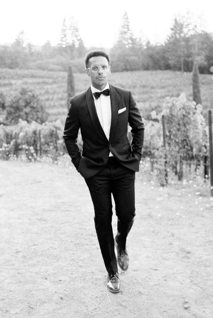 **On the groom's look:** Mario's overall inspiration for his look was classic Hollywood cinema with a modern minimalist twist—Humphrey Bogart in *Casablanca* meets Daniel Craig in *Casino Royale.*