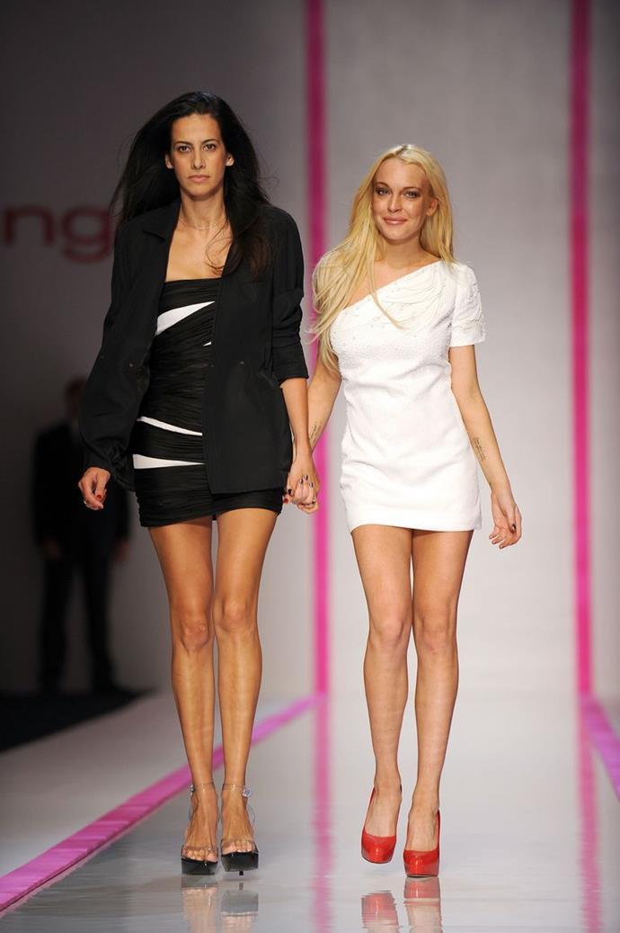 Lindsay Lohan with womenswear designer Estrella Archs in 2009.