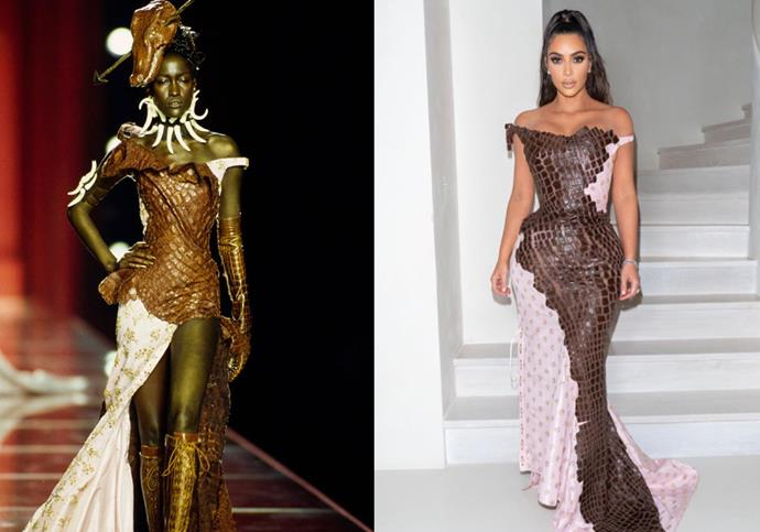 In Galliano-era Dior Haute Couture autumn/winter '00 for the 2019 Kardashian-Jenner Christmas party.