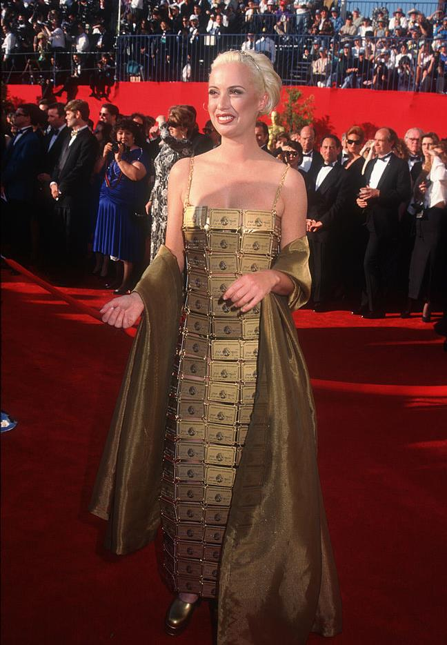 "**Lizzy Gardiner in her own creation at the 1995 Academy Awards** <br><br> Considering she was picking up an Oscar for her costume design skills on 1994's *Priscilla: Queen of the Desert*, it was no surprise that Lizzy Gardiner's dress, made from real American Express cards, was a major exercise in camp style. There's also no doubt that it would've been perfect for the [2019 Met Gala](https://www.harpersbazaar.com.au/fashion/met-gala-red-carpet-2019-18596|target=""_blank"")."