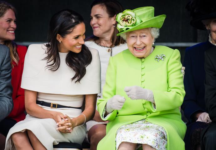 Meghan Markle, the Duchess of Sussex and Queen Elizabeth II photographed together on June 14, 2018.