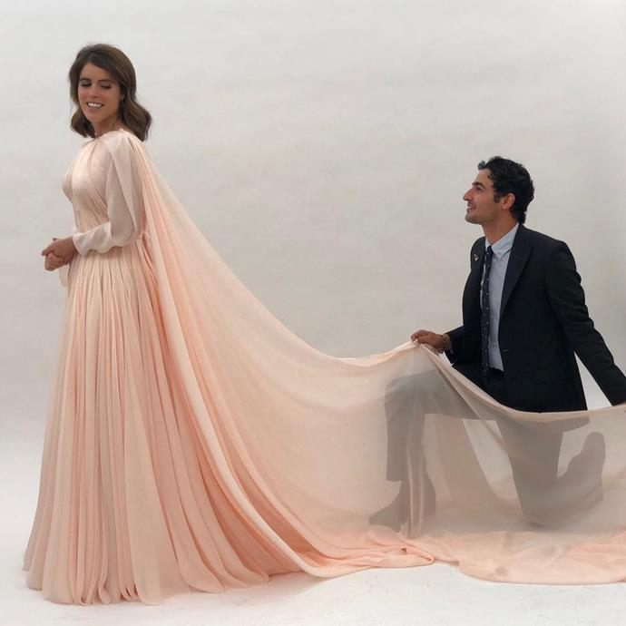 """**Princess Eugenie in Zac Posen** Though Princess Eugenie wore Peter Pilotto for her October 2018 wedding at Windsor Castle, her post-wedding party involved this divine peach-coloured gown by American designer Zac Posen. Like Miranda Kerr, Eugenie's gown was also based on a style once worn by Grace Kelly, with the princess revealing: """"I wanted something reminiscent of Grace Kelly in [the Alfred Hitchcock film] *To Catch a Thief*, so I showed that for reference."""" <br><br> *Image: Instagram [@zacposen](https://www.instagram.com/p/BvZgXEFhyYk/