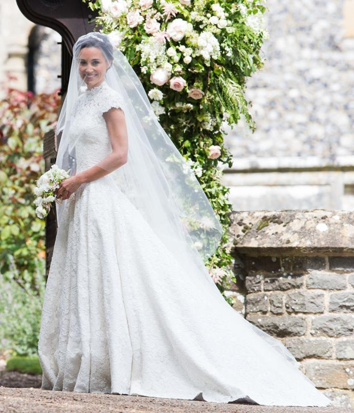 **Pippa Middleton in Giles Deacon** Pippa Middleton's highly-anticipated wedding gown was less conservative than her sister, Kate Middleton's dress—but the high neck, understated diamond headpiece, and long veil gave the impression that Middleton was channeling the vibe of an old-school bride. <br><br> *Image: Getty*