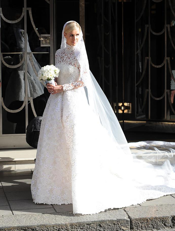 """**Nicky Hilton Rothschild in Valentino** When Hilton wed financier James Rothschild, of the famous Rothschild family, she was also [inspired by Grace Kelly](https://www.harpersbazaar.com.au/fashion/celebrities-dressing-like-grace-kelly-19504