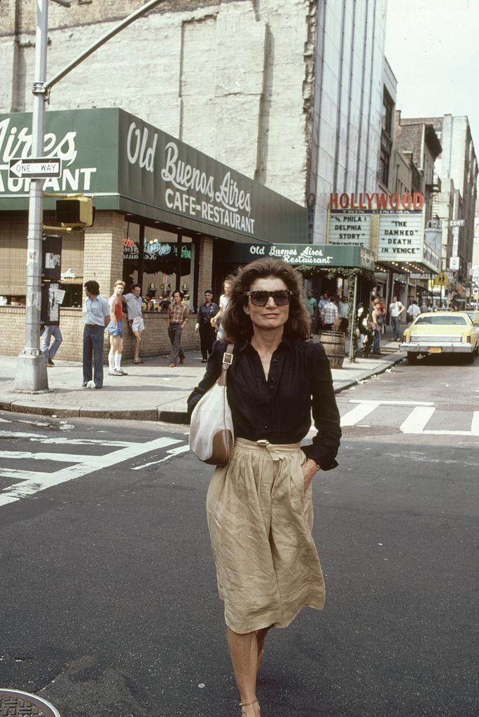 Jackie Kennedy Onassis carrying a Gucci 'Jackie' handbag in July 1981.