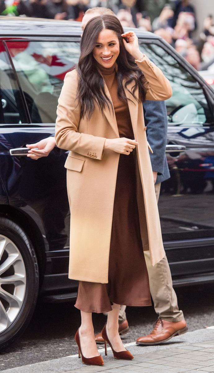 Meghan, in tonal brown, the day before she and Harry took to Instagram to reveal that they were seeking a more financially independent future.
