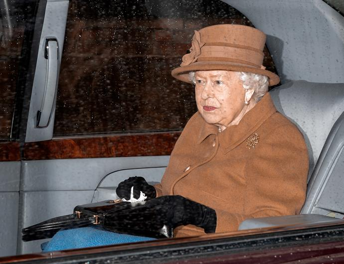 The Queen seen wearing all tan on the eve of the 'Sandringham Summit', where she had requested Prince Charles, Prince William and Prince Harry to discuss the future of the Sussexes.