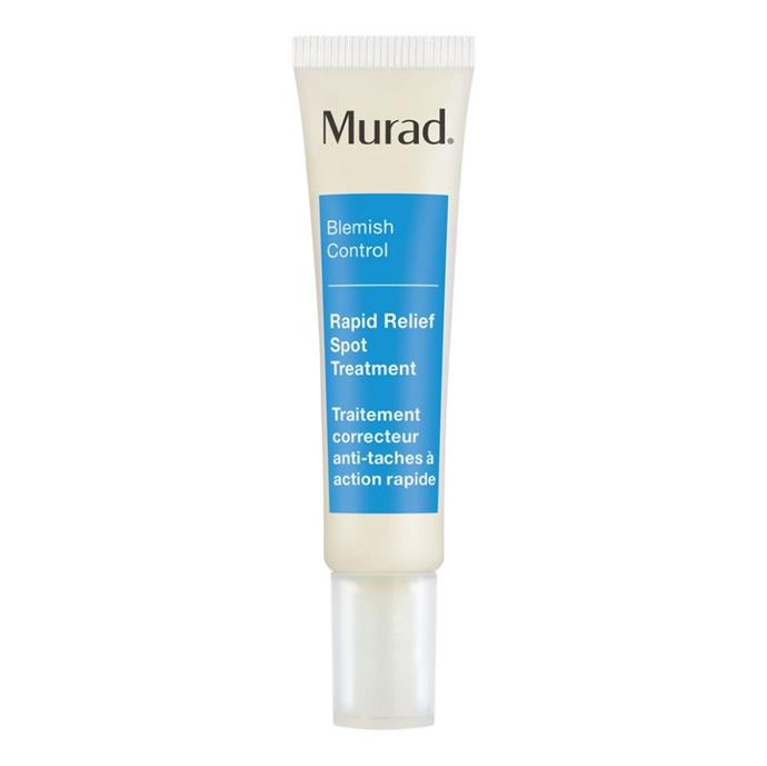 "**For an effective spot treatment:** *Rapid Relief Spot Treatment by Murad, $35 for 15mL at [Sephora](https://www.sephora.com.au/products/murad-rapid-relief-spot-treatment/v/default|target=""_blank""
