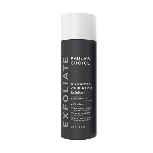 "**For exfoliating:** *2% BHA Liquid Exfoliant by Paula's Choice, $38 for 118mL at [Paula's Choice](https://www.paulaschoice.com.au/skin-perfecting-2pct-bha-liquid-exfoliant/201-2010.html|target=""_blank""