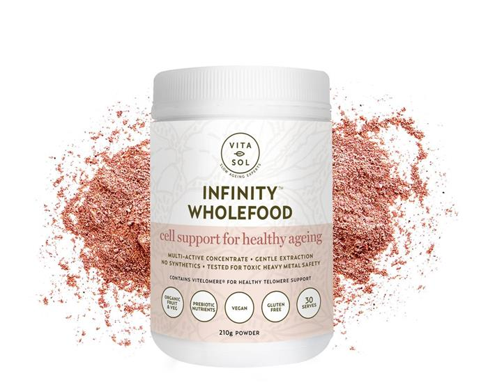 """Infinity Wholefood Cell Support For Healthy Ageing by Vita-sol Neutriceuticals, $59 from [Vita-sol Neutriceuticals](https://www.vita-sol.com/collections/wholefood-powders/products/vita-sol-infinity-wholefood-powder-210g