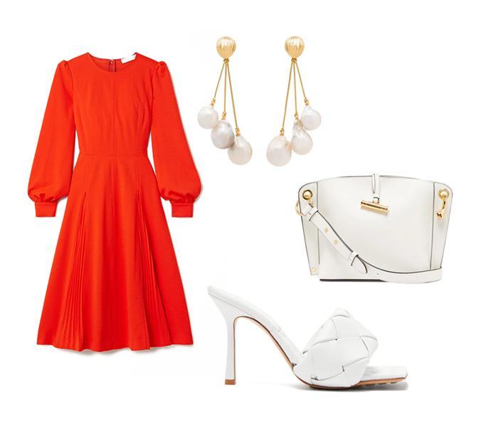 "*Go long*<br><br> Dress by Tory Burch, $719.49 at [Net-a-Porter](https://www.net-a-porter.com/au/en/product/1199482/tory_burch/pleated-crepe-dress|target=""_blank""|rel=""nofollow""); earrings by Anissa Kermiche, $365 at [Farfetch](https://www.farfetch.com/au/shopping/women/anissa-kermiche-trois-soeurs-pearl-drop-earrings-item-14011710.aspx?storeid=9359|target=""_blank""|rel=""nofollow""); bag by JW Anderson, $2,000 at [MATCHESFASHION.COM](https://www.matchesfashion.com/au/products/JW-Anderson-Hoist-small-leather-shoulder-bag%09-1326791|target=""_blank""|rel=""nofollow""); mules by Bottega Veneta, $1,690 at [MATCHESFASHION.COM](https://www.matchesfashion.com/au/products/Bottega-Veneta-BV-Lido-Intrecciato-woven-leather-sandals-1323047|target=""_blank""|rel=""nofollow"")"