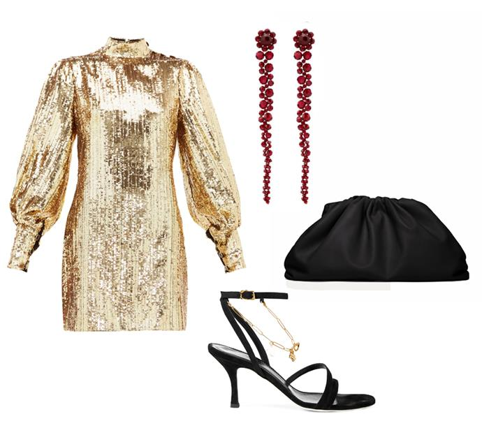 "*Golden girl*<br><br> Dress by Borgo de Nor, $1,565 at [MATCHESFASHION.COM](https://www.matchesfashion.com/au/products/Borgo-De-Nor-Lima-sequinned-mini-dress-1332930|target=""_blank""|rel=""nofollow""); earrings by Simone Rocha, $355 at [Farfetch](https://www.farfetch.com/au/shopping/women/simone-rocha-crystal-embellished-drop-earrings-item-14678909.aspx?storeid=9359|target=""_blank""|rel=""nofollow""); clutch by Bottega Veneta, $3,390.32 at [LN-CC](https://www.ln-cc.com/en/women/bags/the-pouch-clutch-bag-in-black-bov0239001blk.html?cgid=women-bags#page=1&start=30|target=""_blank""|rel=""nofollow""); sandals by Alighieri, $568.96 at [Net-a-Porter](https://www.net-a-porter.com/au/en/product/1220165|target=""_blank""|rel=""nofollow"")"