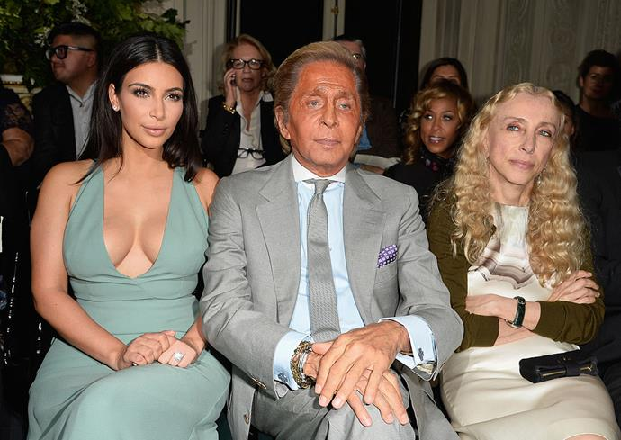 Kim Kardashian West, Valentino Garavani and Franca Sozzani at Valentino autumn/winter '14.