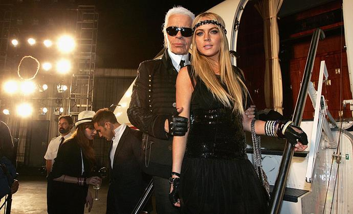 Karl Lagerfeld and Lindsay Lohan at Chanel Cruise 2008.