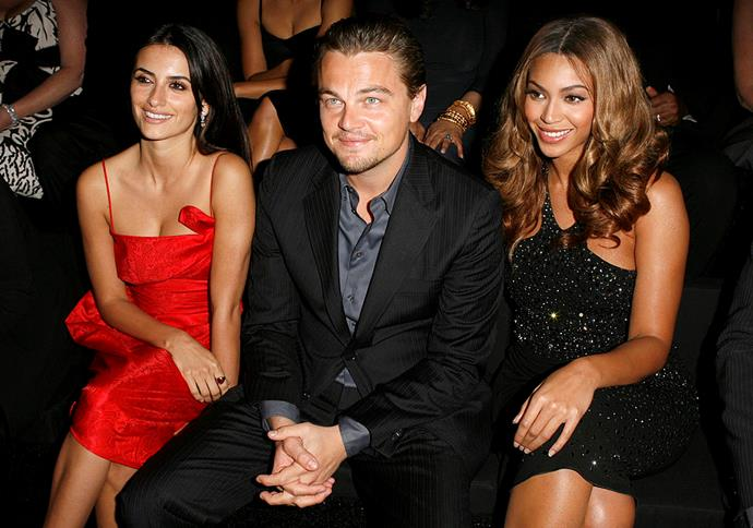 Penélope Cruz, Leonardo DiCaprio and Beyoncé at Armani Privé's L.A. 'Oscars' show in 2007.