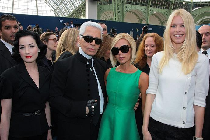 Dita Von Teese, Karl Lagerfeld, Victoria Beckham and Claudia Schiffer at Chanel spring/summer '08.