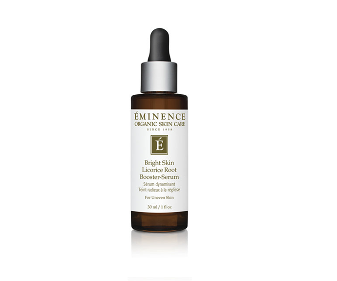 "**Bright Skin Licorice Root Booster, $109 by [Eminence Organic Skin Care](https://www.eminenceorganics.com.au/product/bright-skin-licorice-root-booster-serum/|target=""_blank"")**<br> With licorice, lemongrass and lactic acid, this brightening booster serum is both gentle and effective—apply solo or add a few drops to your moisturiser."