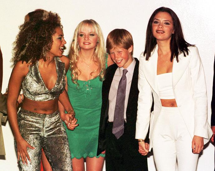 The Spice Girls meeting 13-year-old Prince Harry in 1997.