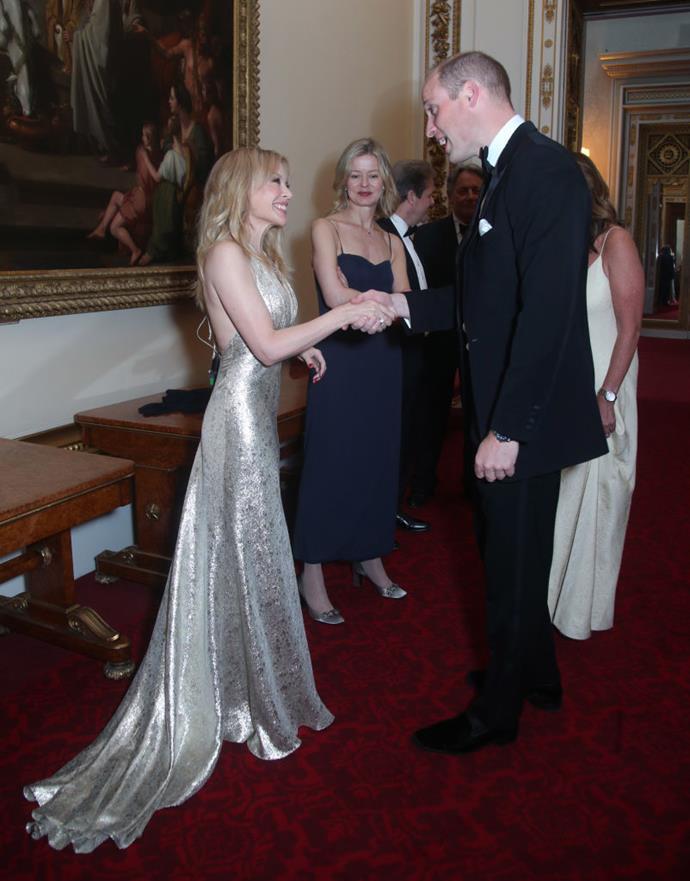 Kylie Minogue meeting Prince William in 2018.