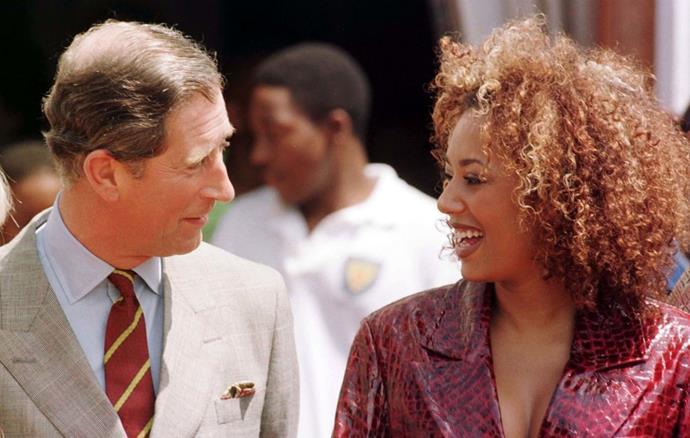 Mel B meeting Prince Charles in 1997.