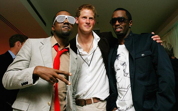 Diddy and Kanye West meeting Prince Harry in 2007.