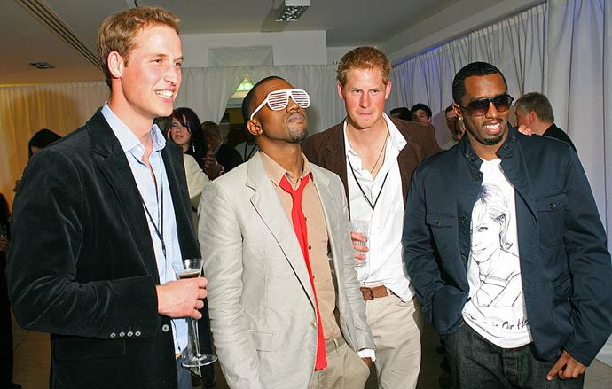 Diddy and Kanye West meeting Prince Harry and Prince William in 2007.