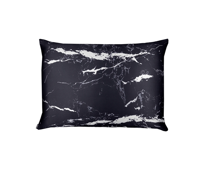 """**Black Marble Silk Pillowcase Queen Size, $95 by [Shhh Silk](https://www.shhhsilk.com.au/products/white-dalmatian-silk-pillowcase-queen-size-zippered