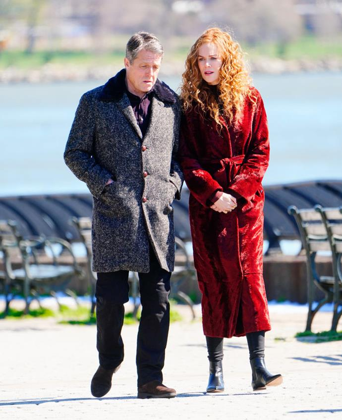 Hugh Grant and Nicole Kidman filming an emotional scene for *The Undoing* on April 16, 2019.