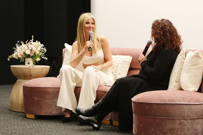Gwyneth Paltrow and Michaela Boehm speak onstage during the goop lab Special Screening in Los Angeles, California on January 21, 2020.