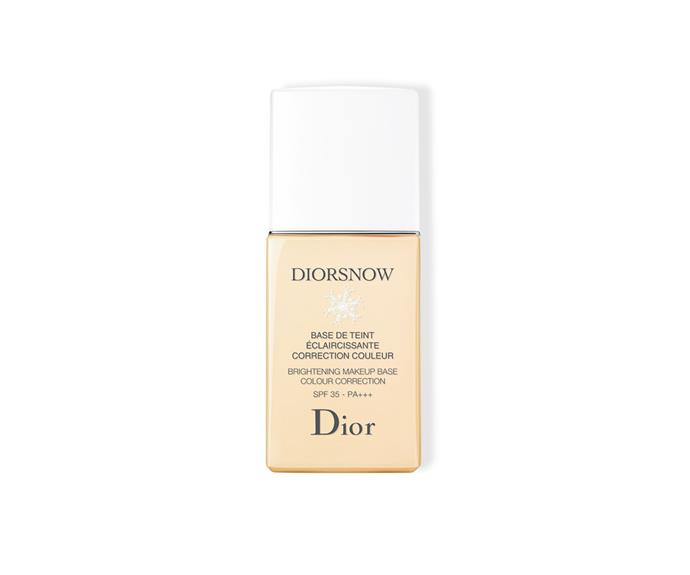 "**Diorsnow Brightening Makeup Base Colour Correction SPF30 by Dior, $85 at [David Jones](https://www.davidjones.com//20389033/Diorsnow-Brightening-Makeup-Base-Colour-Correction-SPF30.html|target=""_blank"")**<br> An easily blendable fluid formula that targets and corrections imperfections."