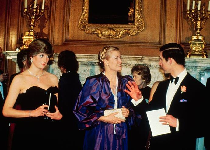 Princess Grace with Lady Diana Spencer and Prince Charles at a reception in aid of the Royal Opera House, Covent Garden, on March 9, 1981.